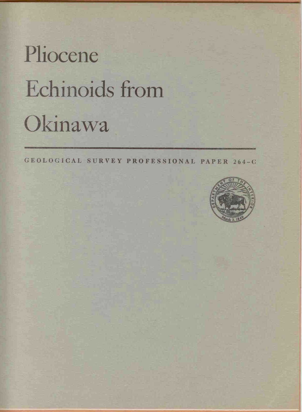 Cooke, W.: Pliocene Echinoids from Okinawa.
