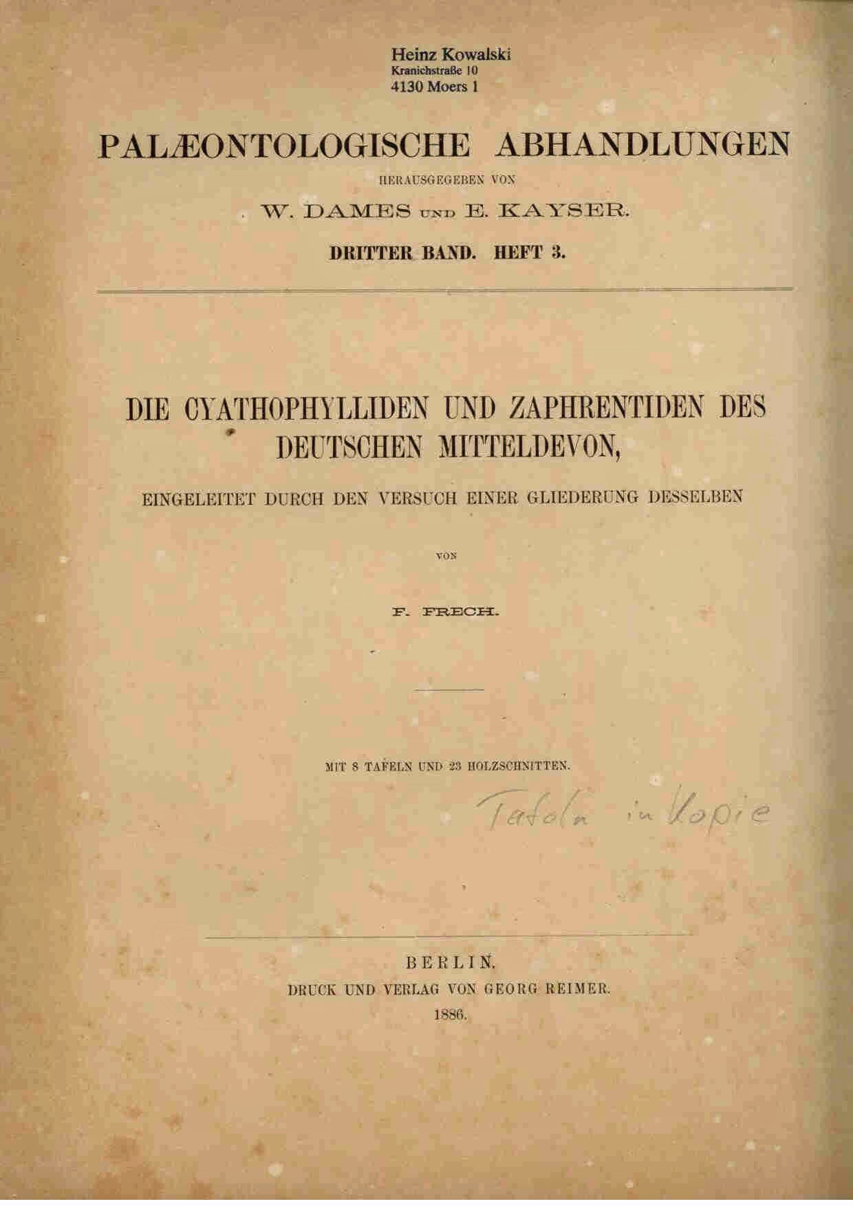 Frech, F.: Die Cyathophylliden und Zaphrentiden des deutschen Mitteldevon