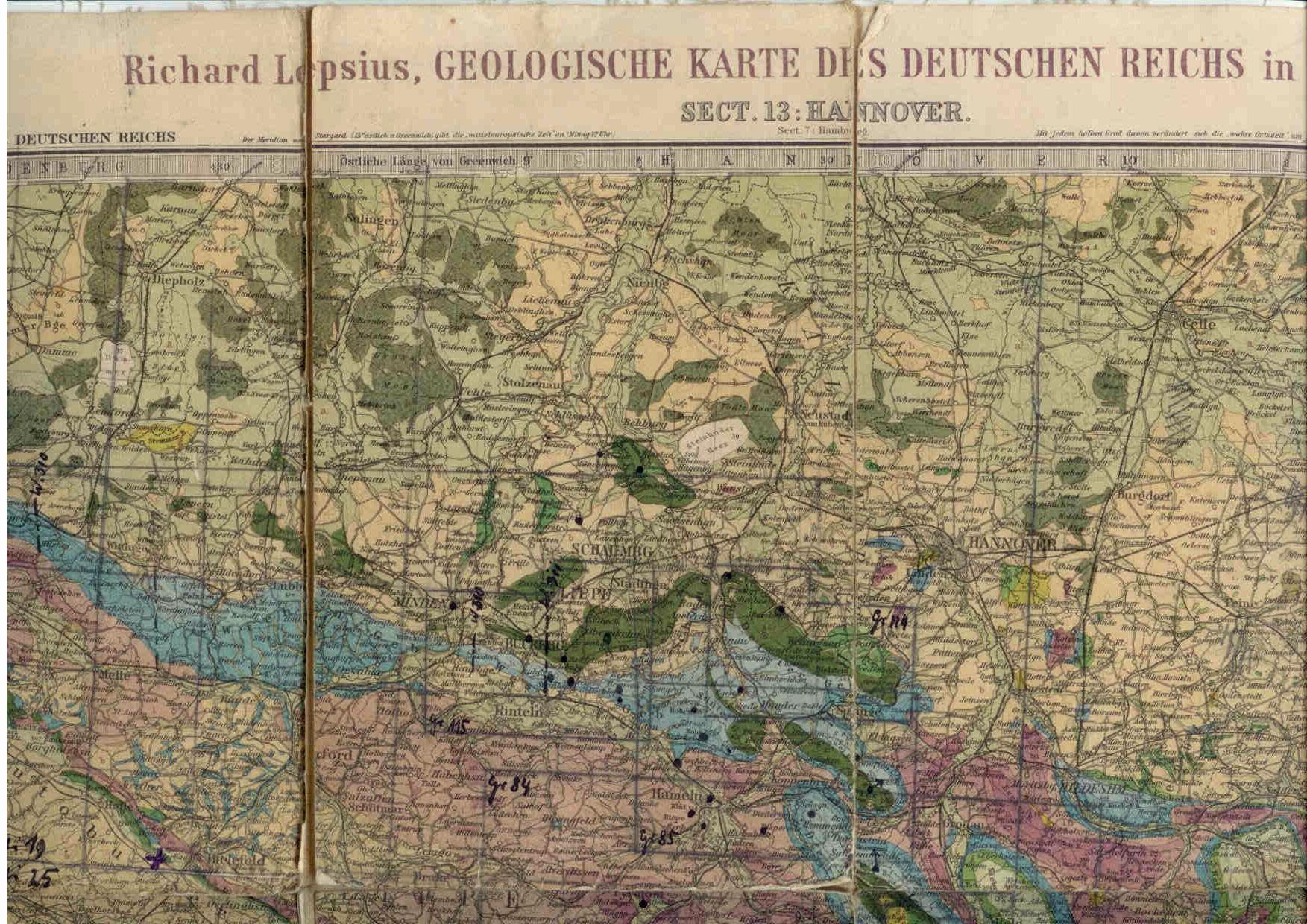 Vogel, C.: Geologische Karte des deutschen Reichs, Sect. 13 Hannover