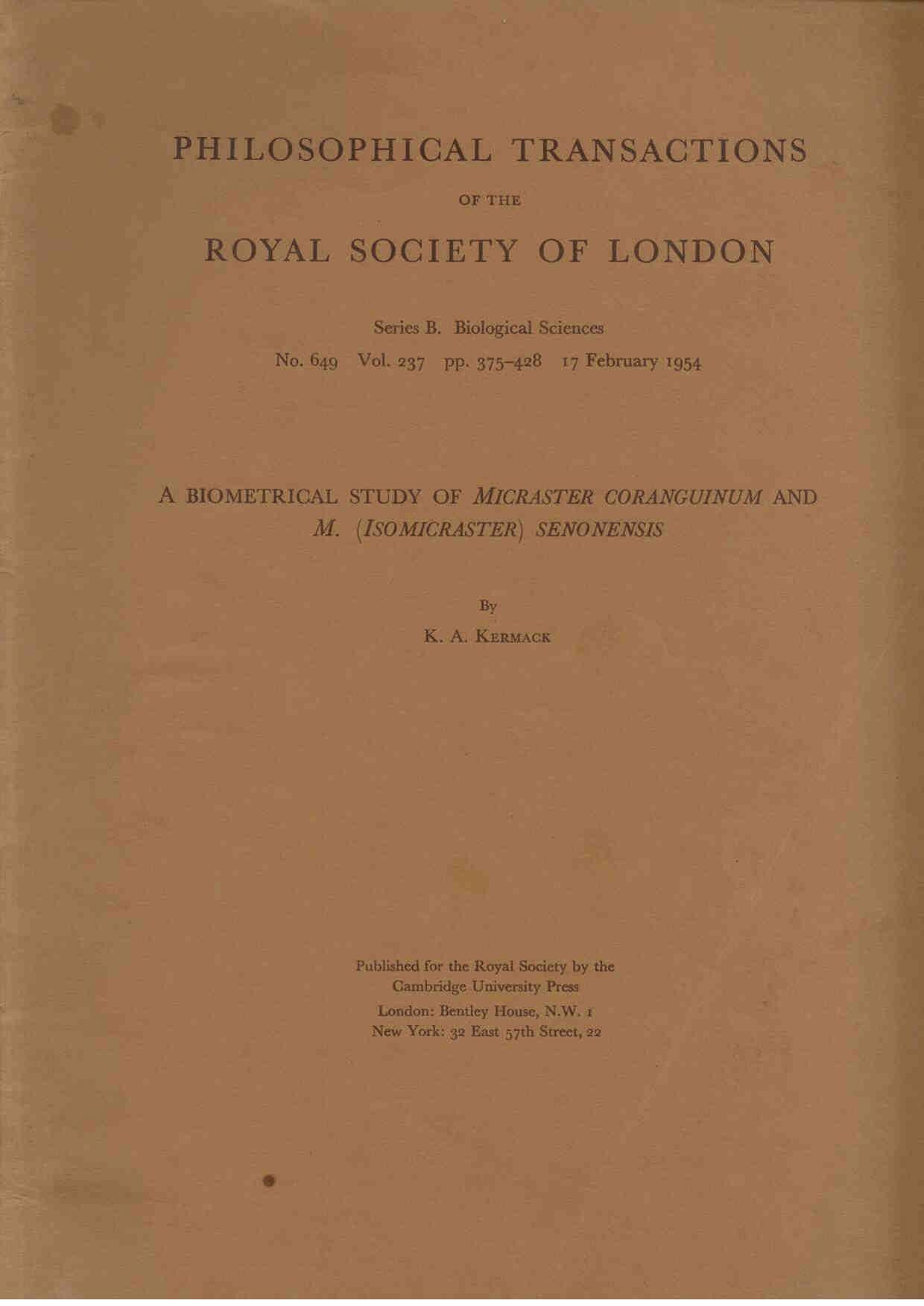 Kermack, K. A.:  A biometrical study of Micraster coranguinum and M. (Isomicraster) senonensis.