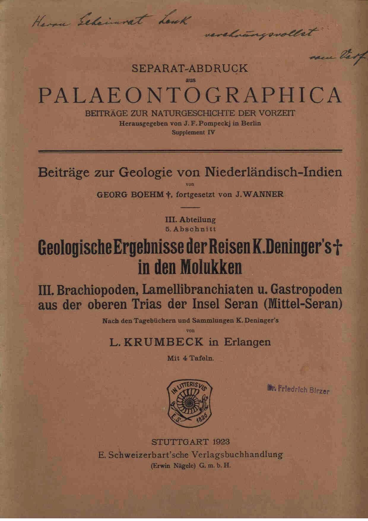 Krumbeck, L.: Geologische Ergebnisse der Reisen K. Deninger's in den Molukken. III Abteilung 5. Abschnitt