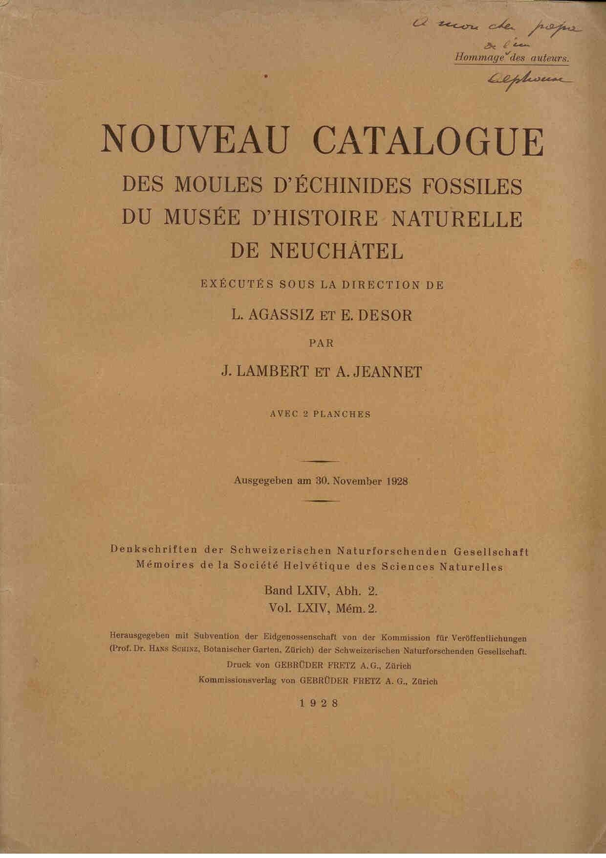 Lambert, J.: Nouveau Catalogue des Moules De Echinides Fossiles du Musee D'Histoire Naturelle de Neuchatel