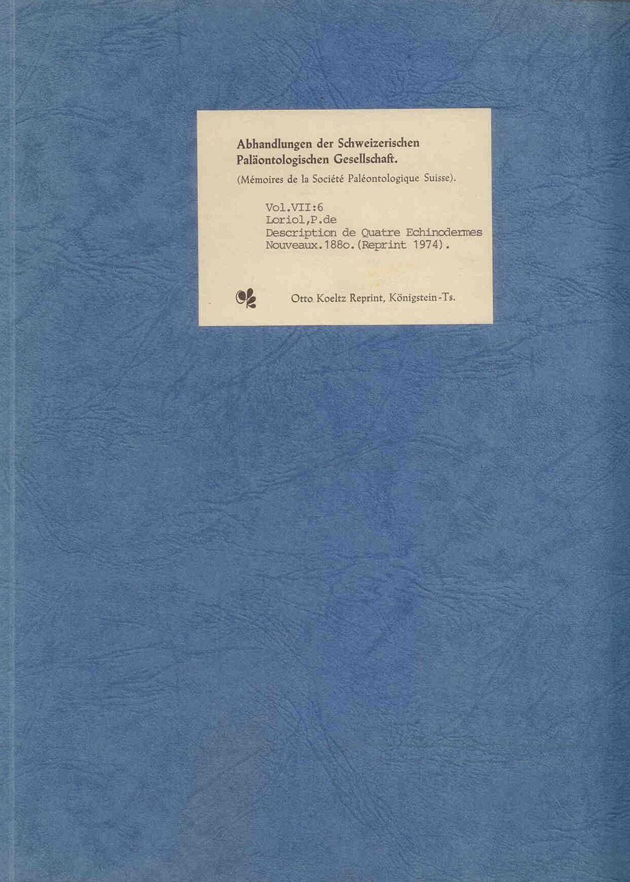 Loriol, P.:Description de Quatre Echinodermes Nouveaux