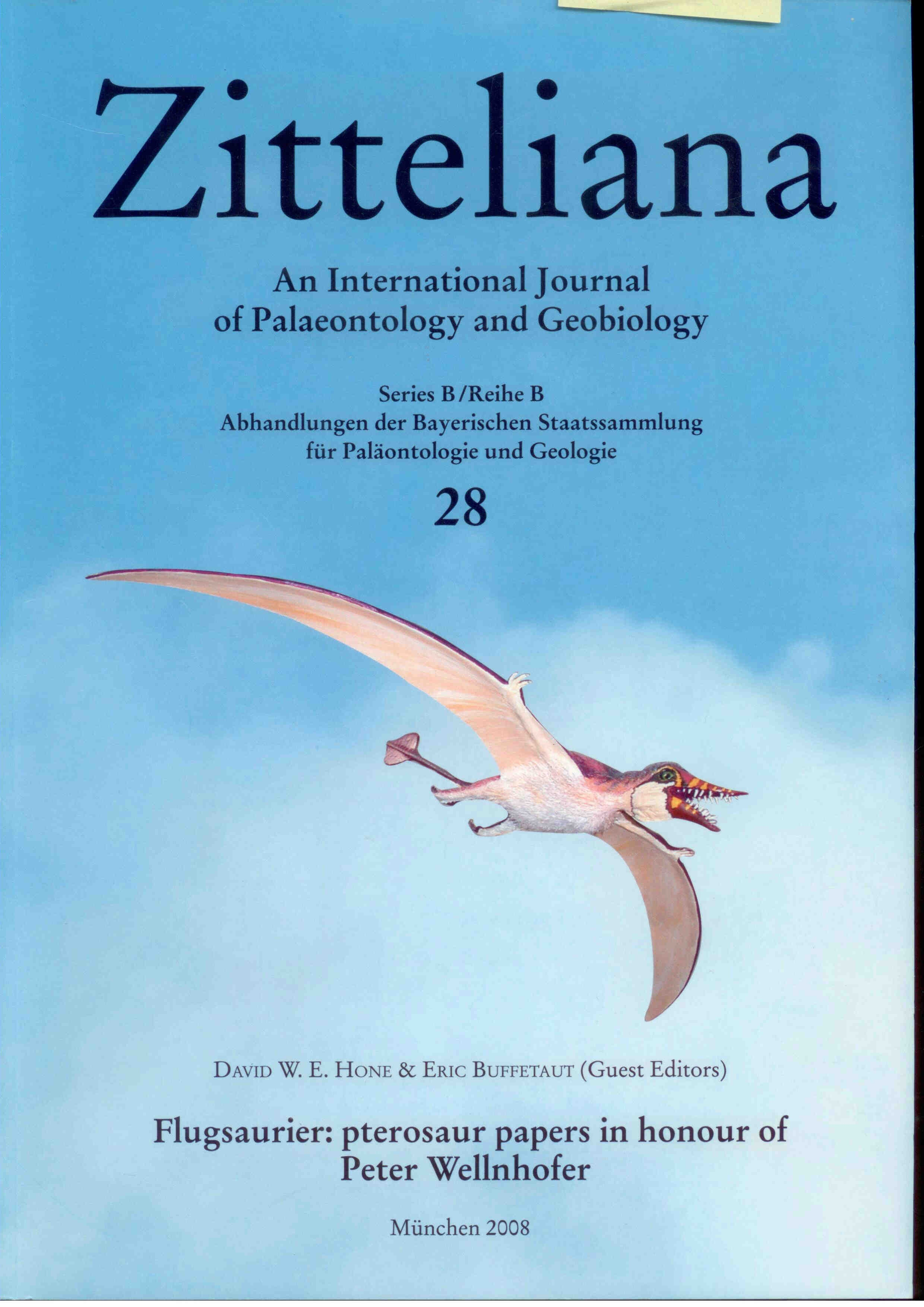 Hone D.W.E., Buffetaut E.: Flugsaurier: pterosaur papers in honour of Peter Wellnhofer.  ZITTELIANA 28