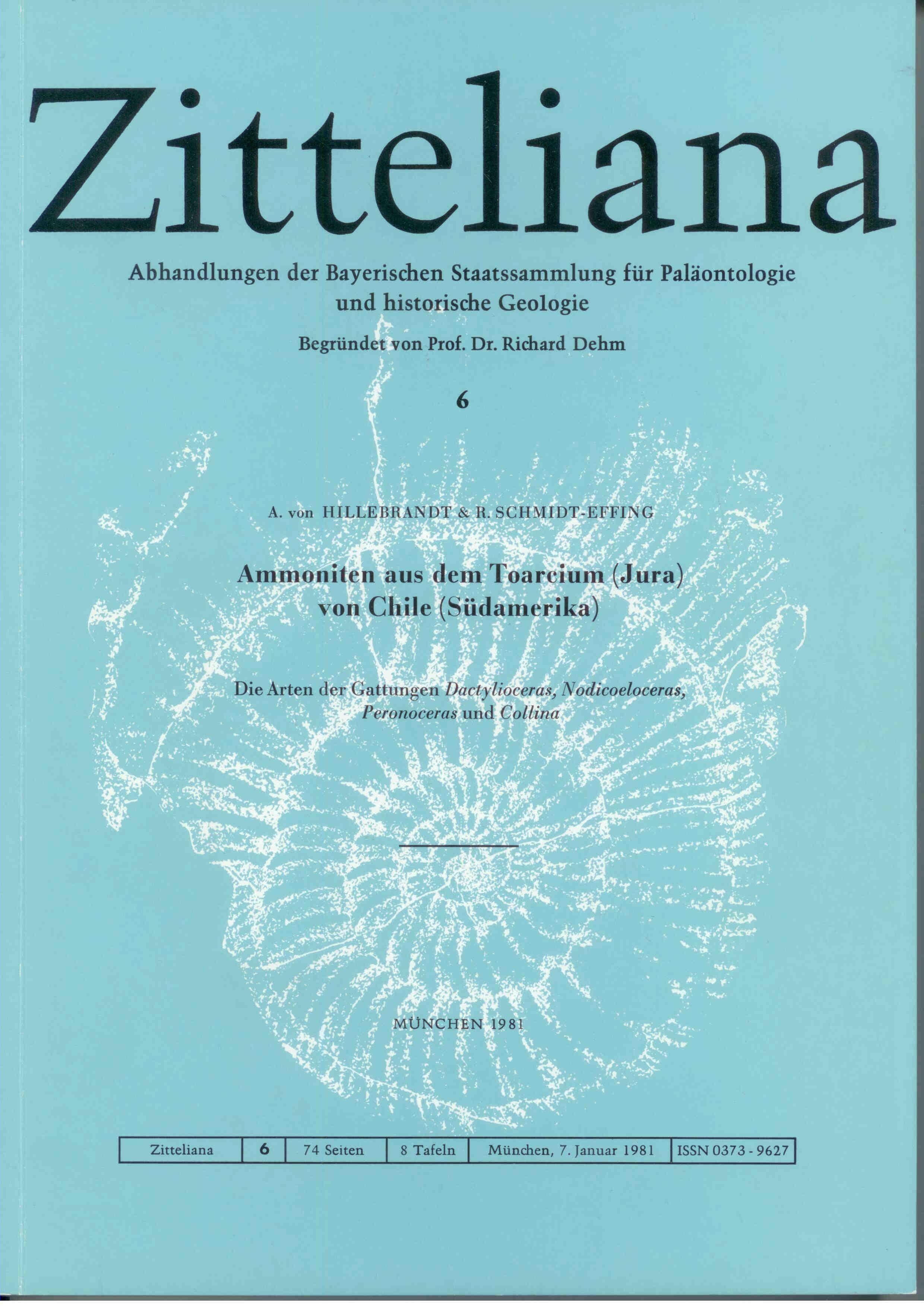Hildebrandt A. von., Schmidt-Effing R. :Ammoniten aus dem Toarcium (Jura) von Chile (Südamerika).  ZITTELIANA 6