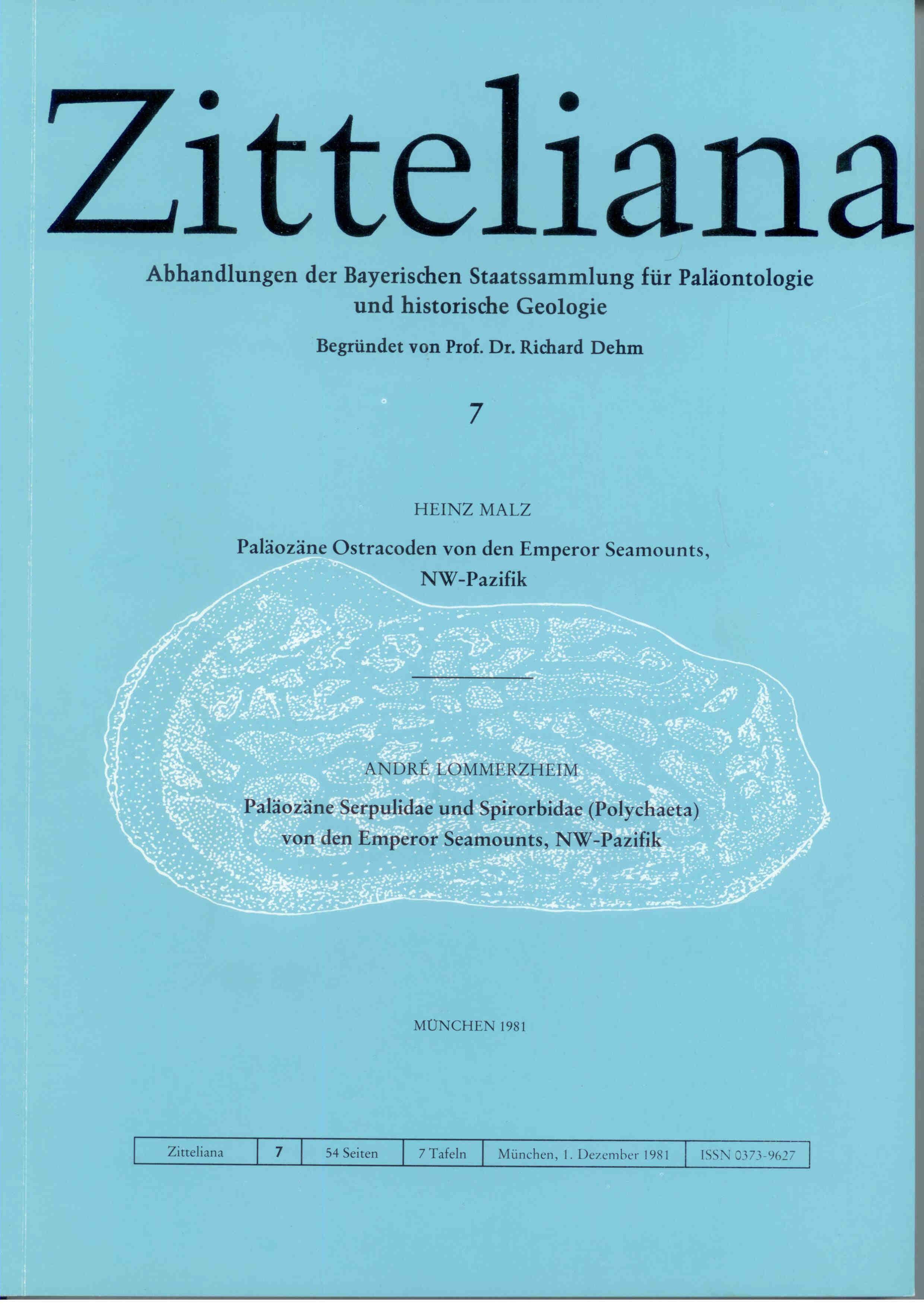 Malz H., Lommerzheim A.: Paläozäne Ostracoden von den Emperor Seamounts, NW-Pazifik. Paläozäne Serpulidae und Spirobidae (Polychaeta) von den Emperor Seamounts, NW-Pazifik.  ZITTELIANA 7